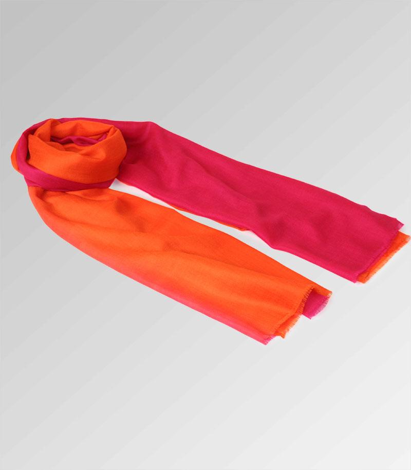 szal kaszmirowy pomaranczowy cieniowany