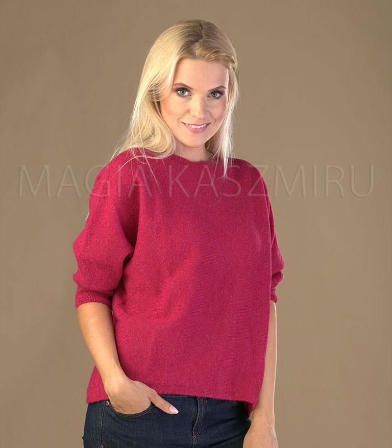 sweter damski welniany w kolorze czerwonym