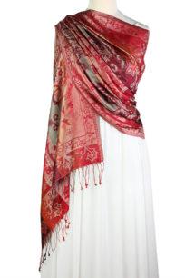 szal jedwabny ze wzorem jamawar w kolorze czerwonym