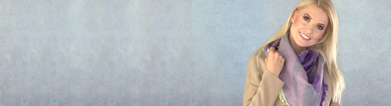szal welniany z alpaki w kolorze fioletowym