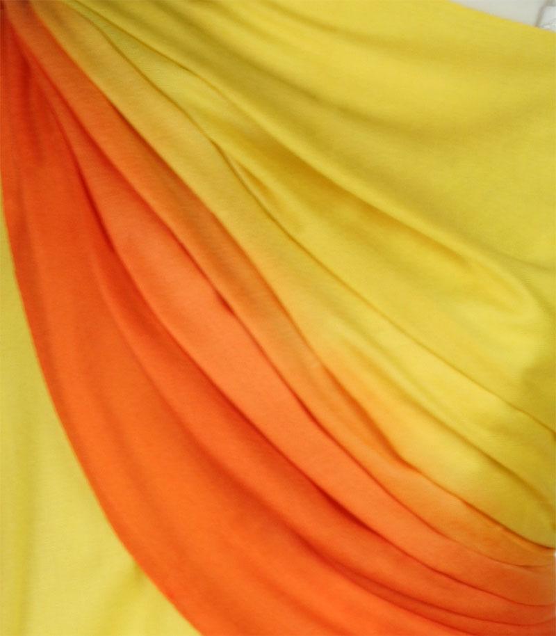 szal welniany w kolorze zoltym z welny merino