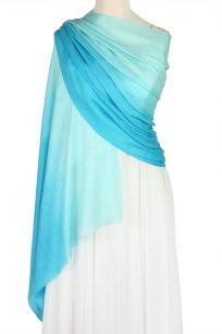 szal welniany w kolorze turkusowy z welny merino